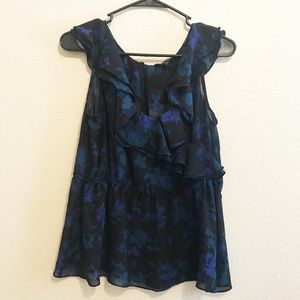 Express Floral No Sleeve Ruffle Blouse (L)